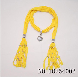 Wholesale Handmade Fashion Scarves Necklace - Yellow Scarf jewelry Pendant necklace Popular womens Soft scarves Jewellery Mix Colors Hellosport86