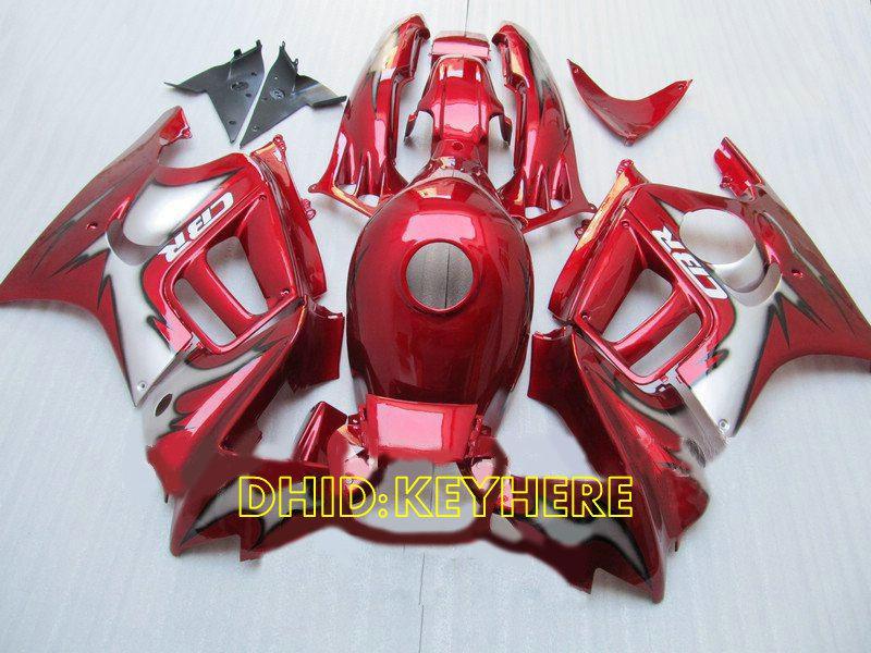 Röd / Grå Custom ABS Racing Fairing för Honda CBR600F3 95 96 CBR 600 F3 1995 1996 Motorcykel Body Kit