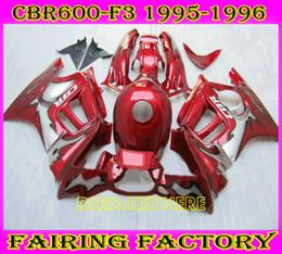 1996 honda cbr body kit online-Rojo / gris Custom ABS Racing carenado para Honda CBR600F3 95 96 CBR 600 F3 1995 1996 kit de carrocería de moto