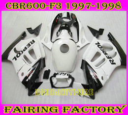 Custom Body Honda Cbr Canada - White repsol ABS custom Racing moto fairing for Honda CBR600F3 97 98 CBR 600 F3 1997 1998 body kit