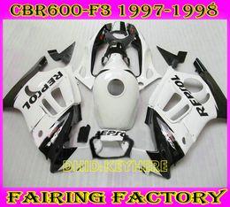 honda cbr f3 personnalisé Promotion Carénage moto ABS Custom repsol blanc Racing pour kit carrosserie Honda CBR600F3 97 98 CBR 600 F3 1997 1998