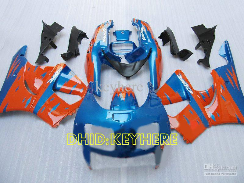 Blauw / Oranje Custom Moto Fairing for Honda CBR900RR 893 1996 1997 CBR 900RR CBR893 96 97 Valerijen Set