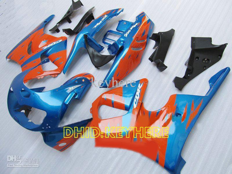 Blå / Orange Custom Moto Fairing för Honda CBR900RR 893 1996 1997 CBR 900RR CBR893 96 97 Fairings Set
