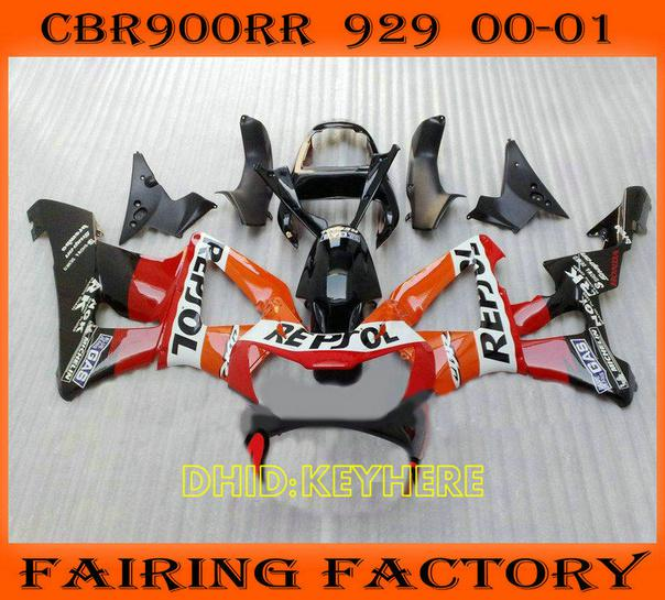 Repsol Custom Fairing For 2000 2001 Honda CBR900RR 929 FIREBLADE CBR 929RR 00 01 900RR Fairings Aftermarket Mirrors Motorcycles