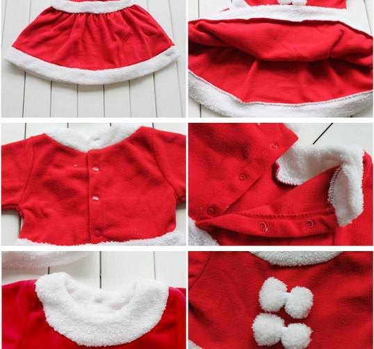 ベビークリスマスロンパースセット/キッズクリスマス服コットンガールサンダドレスマスカレードベイビー3ピーススーツ