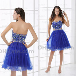 royal blue above knee dresses 2019 - 2016 Sexy Best Price 30% Off Royal Blue Beaded Strapless Above Knee Length Cheap Homecoming Dress HD030 cheap royal blue