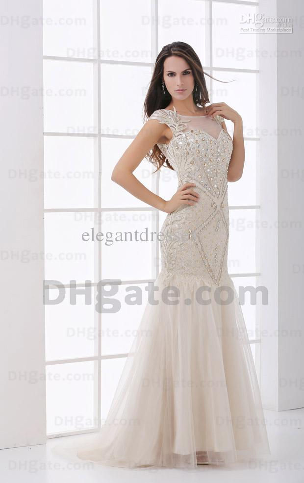 2021 Champagne Mermaid Beaded Flower Lace Back Prom Party Dress PD072