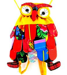 Wholesale Colorful Girl Owl - 5pcs lot OWl style colorful bag owl children's bag 10 colors optional Size: 30*25cm Cute Backpack