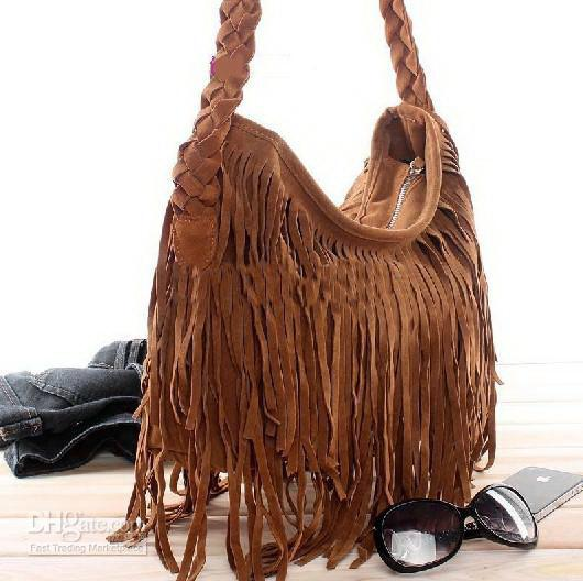 1619711fbe Hot Sale Suede Fringe Tassel Shoulder Bag Women s Fashion Brown .