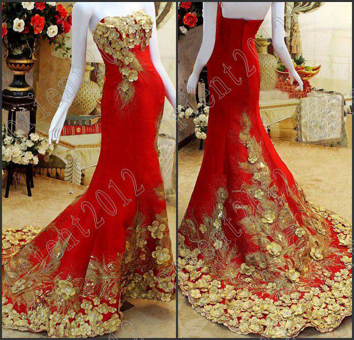 2016 Acme costly crysta Strapless Applique Gold Red A-Line pageant ...