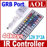 control remoto 44keys ir al por mayor-2pcs 44keys controlador 12V 6A 20c olors Para RGB LED luz de Tira de control Remoto IR!precio de promoción