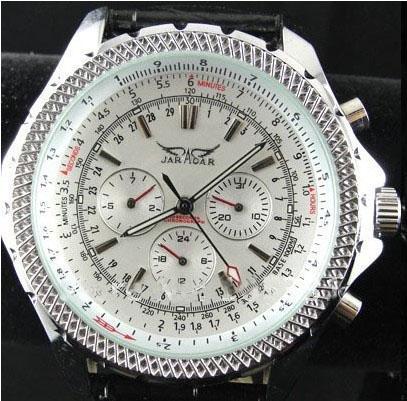 Jaragar Luxury Swissメンズレザーウォッチステンレス機械ダイブデザイナーメンズ腕時計送料無料