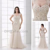 Wholesale Crystal Trumpet Dress Actual Image - Mermaid Evening Dresses Real Actual Picture Sheer Scoop Beaded Rhinestones Champagne Tulle Floor Length DHYZ 02