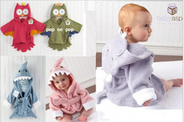 Wholesale Hooded Terry Robes - New Animal Baby hooded bathrobe baby bath towel bath terry children infant babe bathing 10pcs lot edison168