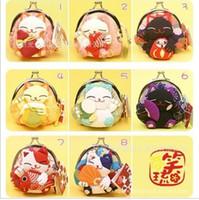 bolsa de tecido gato venda por atacado-Japonês Sorte gato bolsa carteira kimono tecido dos desenhos animados coin purse key bag bolsa sacos de alta qualidade