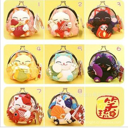 Discount cotton kimonos wholesale - Japanese Lucky cat purse wallet kimono fabric cartoon coin purse key bag handbag bags top quality