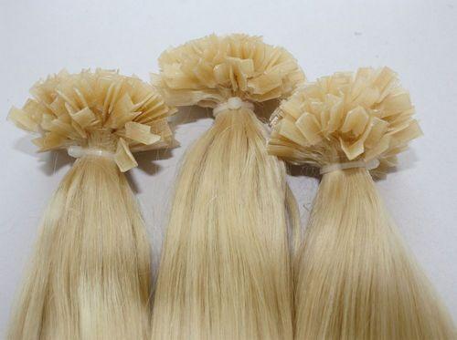"grade 5A-1g /s 100g/pack Brazilian remy Italian keratin flat tip hair extensions 16""-24"" 60# platinum blonde dhl"