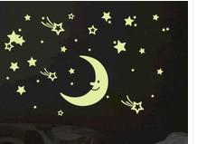 Baby Kid Love Home Room Nursery Glow i Dark Moon Stars Stickers Wall Bed Decal