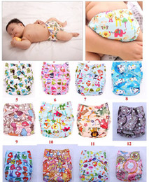 Wholesale Toddler Cloth Nappies - Cartoon Animal Baby Diaper Covers Cloth nappy Toddler TPU Cloth Diapers Colorful Bags Zoo 12 color
