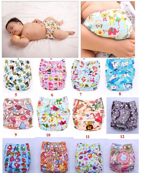 top popular Cartoon Animal Baby Diaper Covers Cloth nappy Toddler TPU Cloth Diapers Colorful Bags Zoo 12 color 2021