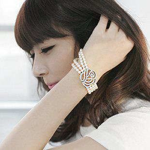 Moda honorável subiu flor Multilayer pulseira de pérolas Simulado diamante cuff bangle mulheres New presentes de Natal 20 pçs / lote