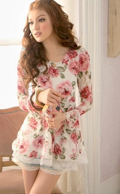 Горячие продать девушку Дамы Женская мода Рубашки мужские Рубашки цветка шнурка с длинными рукавами рубашки шифон