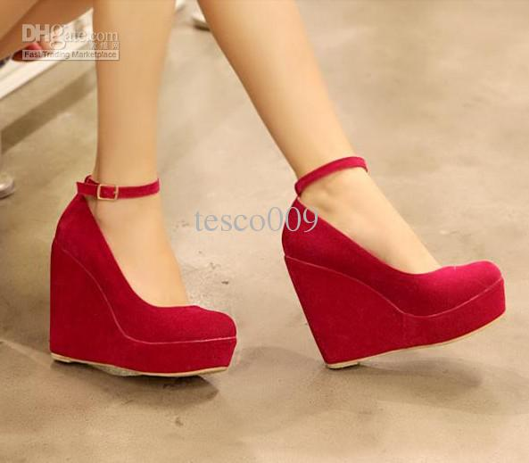 2012 Hot New Fall Wedge Heel , Bow Single Shoes , Red Wedding ...