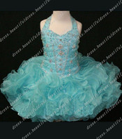 Wholesale Crystal Bodice Flower Girl Dresses - Halter Crystal Beading Bodice flower girl dress Toddler girl pageant dress new style Cupcake dress