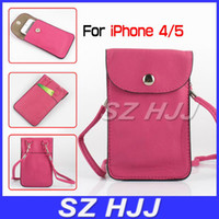 Wholesale Iphone Cross Body Bag - Cell Phone Holder Wallet for iphone 5 Cross Body Bag Case Neck Cross PU Leather Case Cover for iphone4G 4 5 2015 Hot