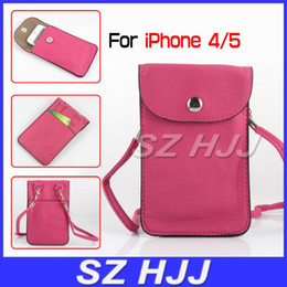 Wholesale cross iphone covers - Cell Phone Holder Wallet for iphone 5 Cross Body Bag Case Neck Cross PU Leather Case Cover for iphone4G 4 5 2015 Hot