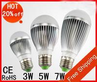 Wholesale 5pc Led Warm - high power 3W , 5w , 7w 100-240V golden silver led globe bulb E27 GU10 B22 lamp AC 85-265C 5pc