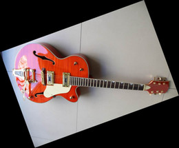 Wholesale Electric Guitar Hollow Body Gold - Huge orange 6120 JAZZ Hollow Body electric guitar gold hardware