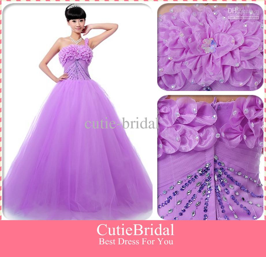 Discount Colorful Light Purple One Shoulder Wedding Dress With Tulle ...