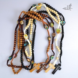 Wholesale Wholesale Color Wooden Beads - 48pc lot Mix Color Wooden Rosary Beads Necklace Jesus Cross Pendant Necklaces Wood Religious Jewelry