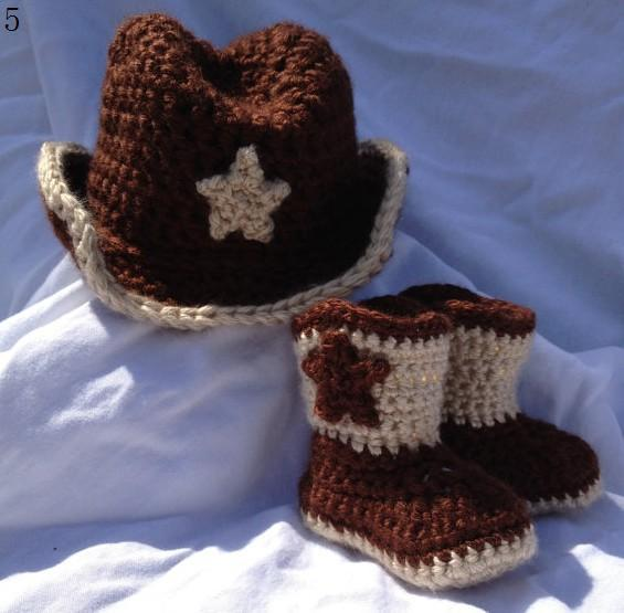 20% di sconto * HANDMADE bambino Crochet scarpe, cappelli all'uncinetto / berretto / berretti / stivali / bambino / neonati bambino wear.5set /