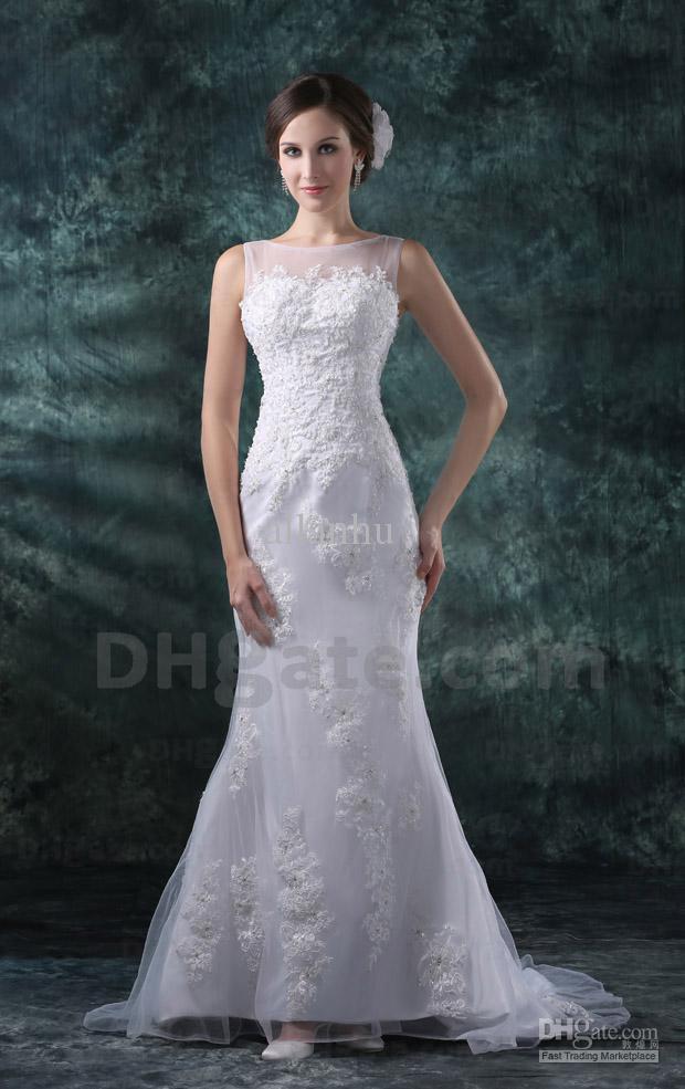 New Elegant 2012 Short Sleeves Applique Beaded Satin Sheath Lace Wedding Dresses DH00242