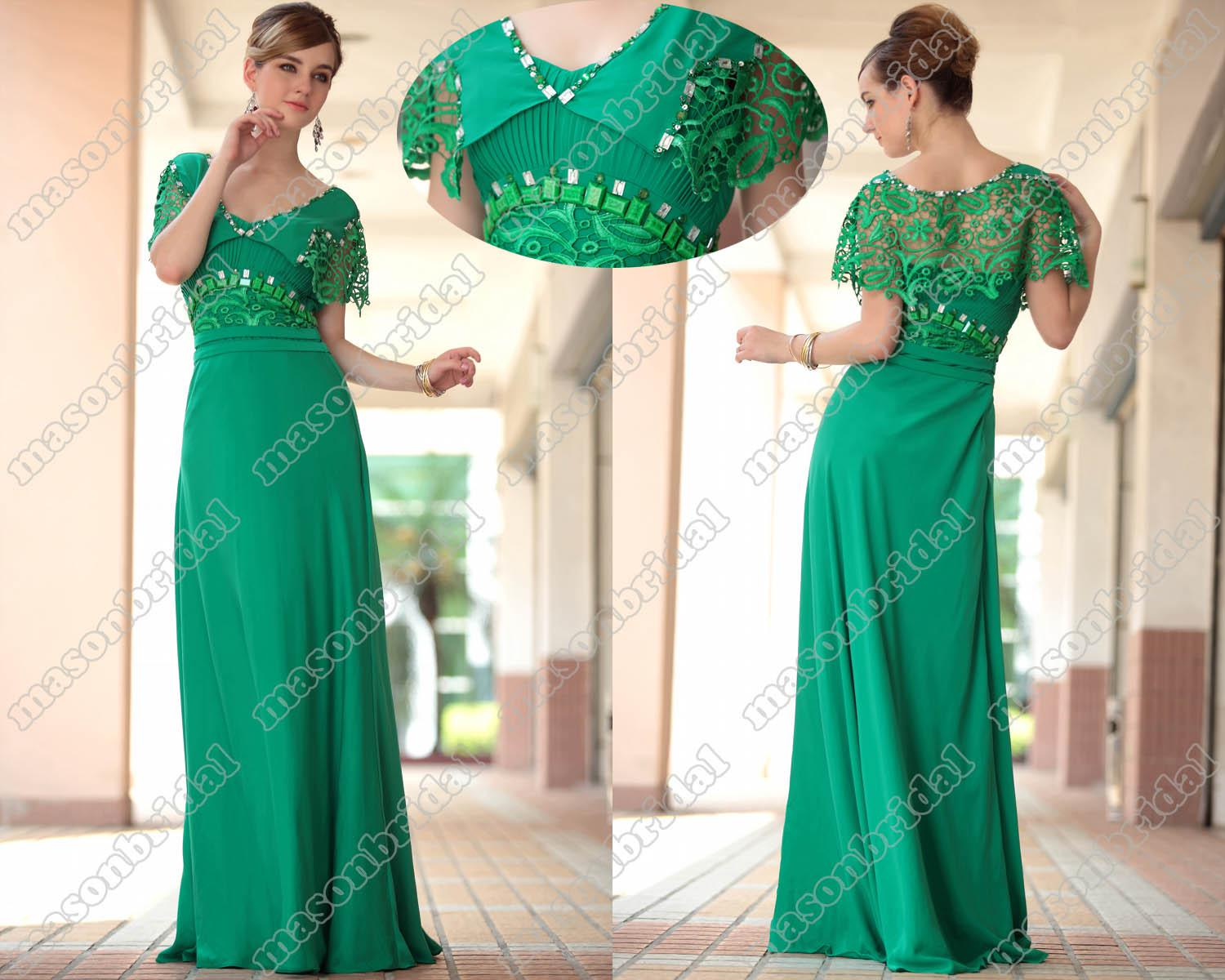 Green Sheath Prom Dress V Neck Short Sleeve Beaded Lace Full Length ...