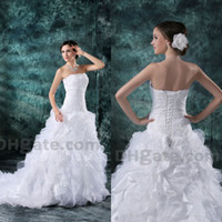Wholesale Organza Dress Ruffle Designer - 2015 A-line Beauty Organza Lace Up High Quality Bridal Gown Wedding Dresses With Lace Up Back WD049