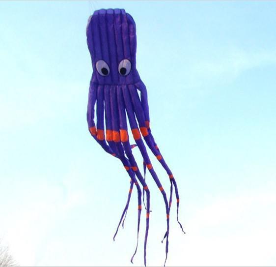 3D 26ft 8m Single Line Stunt Parafoil Púrpura Octopus POWER Sport Kite juguete de exterior A ++