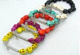 Wholesale sideways bracelet beads - 50pcs* Skull Beads Side ways Cross Bracelets Sideways Cross Bracelet Pick Color