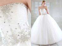 Wholesale Design Strapless Satin Wedding - Sexy New Designed Elegant Wedding Dresses Ball Gown Strapless Beading Satin & Tulle Bridal Dresses