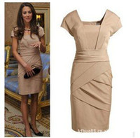 Wholesale Dress British Princess Kate - S-XL free shipping British Princess Kate same style slim women's dress (colors black+skin)#3018