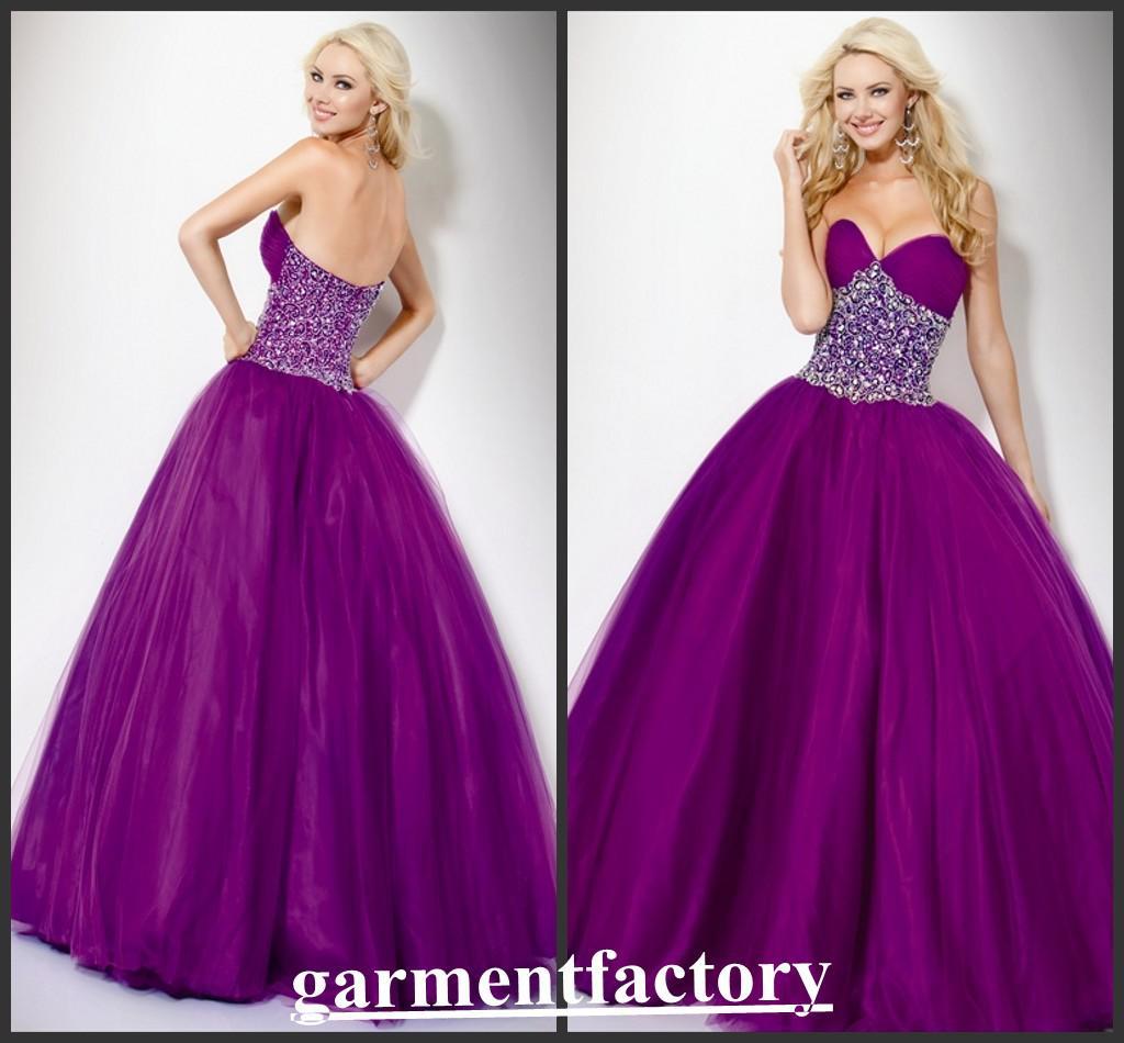 Vintage purple prom dresses