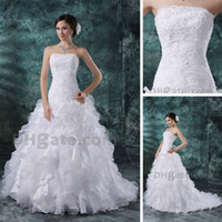 Hot selling Real Actual Image A-line Wedding Dresses Court Train Organza Ruffles Strapless Lace Appliques Gowns DHYZ 02