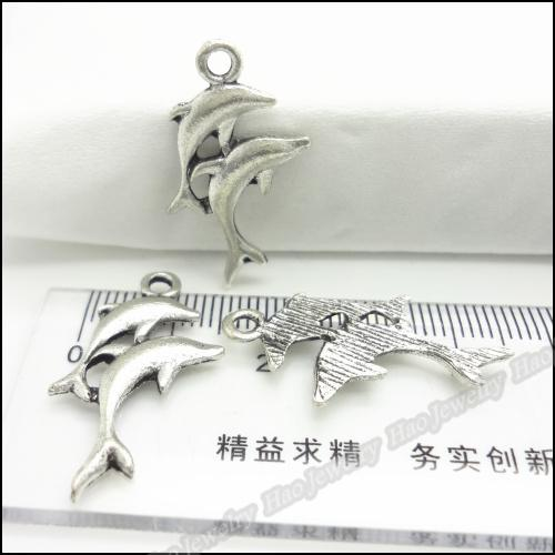 Charms Antique Plated Silver Alloy Two Dolphin Pendant Fit Bracelet & Necklace DIY Jewelry 150pcs/lo