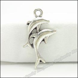 golfinho colares prata Desconto Encantos antigo banhado liga de prata Dois Pendant Dolphin Fit Pulseira Colar DIY 150pcs Jóias / Lo