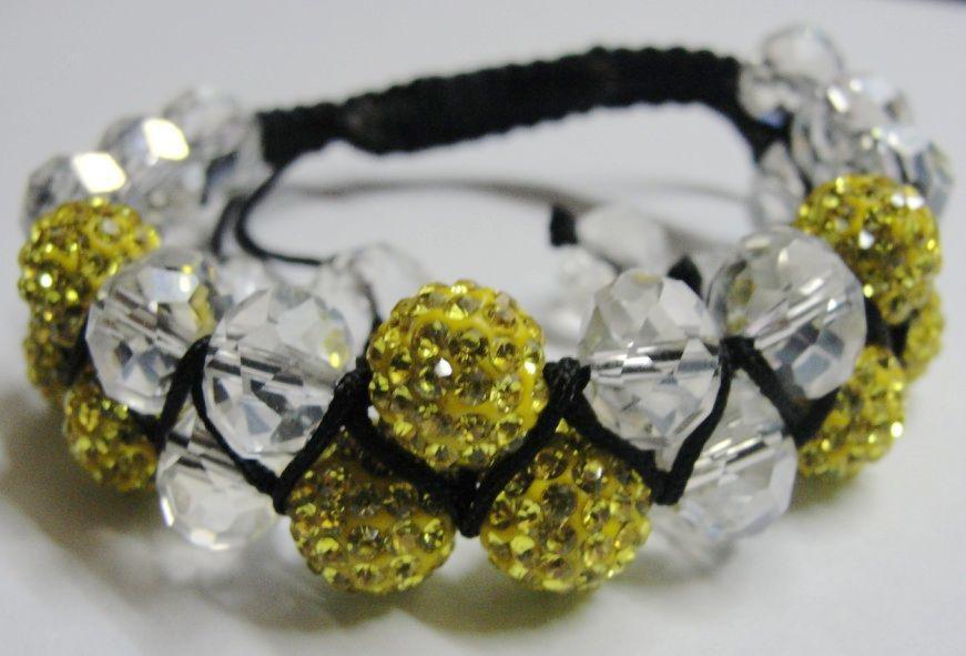 5pcs * Art- und Weisedoppelreihige Kristalldisco-Kugel (9pcs) handgemachtes Schnur-Armband