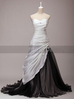 Wholesale Make White Wine - Newest Black and White Dress Sweetheart Chapel Train Organza Wine Taffeta Embroidery Wedding Dresses