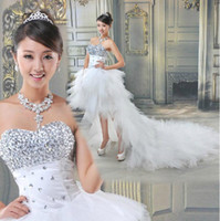 Wholesale High Low Actual Crystal - New Sexy Sweetheart Beading crystal High-low Net Wedding Dress Bridal Gown Evening Dress