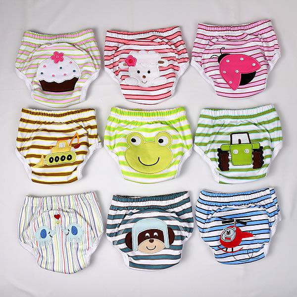 best selling 3-layers Animal Baby Potty Training Pants Waterproof Learning Pants Flowers Butterfly 100% Cotton